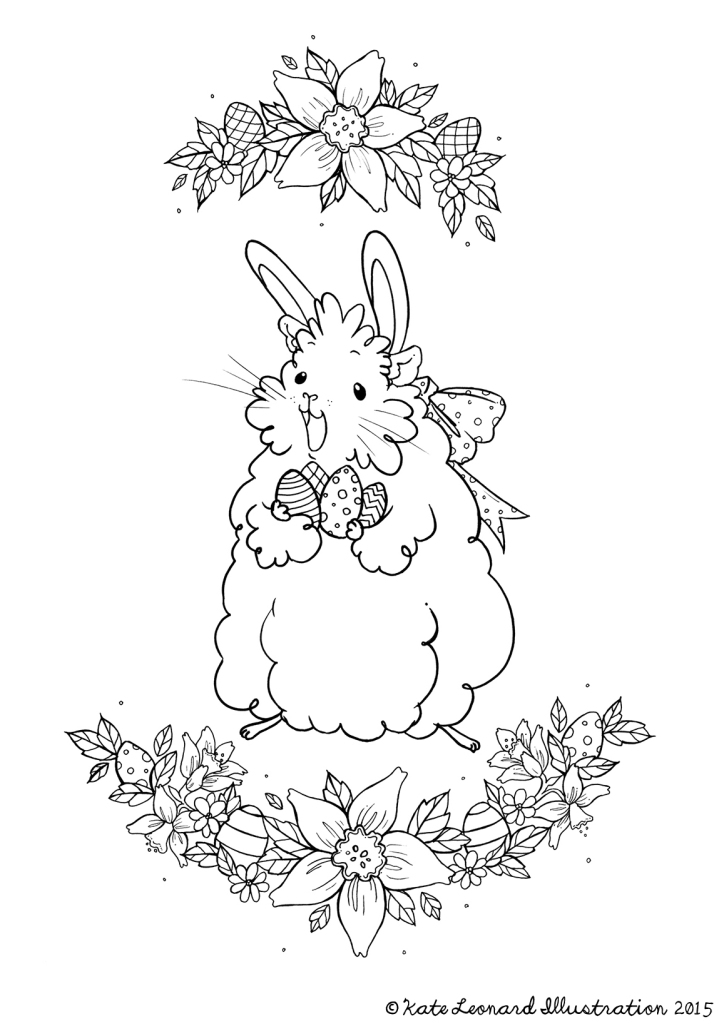 Easter Guinea Colouring page